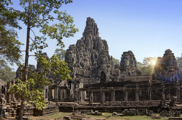 Ancient Bayon Temple ruins, 12th century, in Angkor Wat, Siem Reap, Cambodia