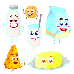 Set of funny and happy characters of dairy products. Cute and funny milk, cheese, glass, cookie and butter. Cartoon vector illustration isolated on white background