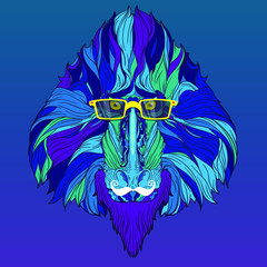 Vector ornament face of fashion monkey mandrill with yellow eyeglasses and white mustache. Isolated on blue gradient background.