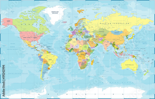 Political Colored World Map Vector\