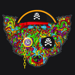 Vector ornament face of pirates dog with hat, monocle and eye patch. Isolated on black background. Line art.