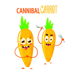 Funny cute two characters of carrot cannibal. Cartoon vegetables. Vegetarian. Vector illustration isolated on white background