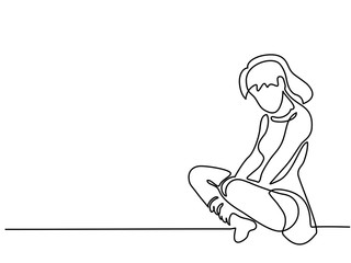 Continuous line drawing. Sitting sad girl. Vector illustration