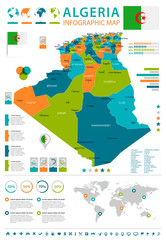 Algeria - infographic map and flag - Detailed Vector Illustration