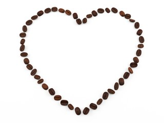3D render. Coffee beans laid in the shape of a heart. Isolated on white background