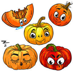 Vector characters of pumpkins. Isolated on white background. Cartoon style. Different emotions