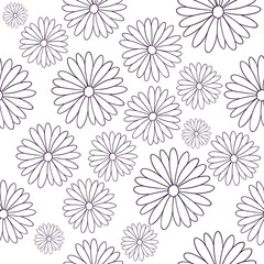 Vector seamless pattern with flowers. Abstract floral texture. Repeat pattern in lines. Vector illustration isolated on white background.