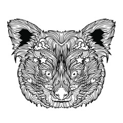 Ornament face of red panda. Coloring book page. Isolated on white background. Line art style.