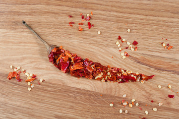 Ground chile pepper in the shape of a pod on wooden background
