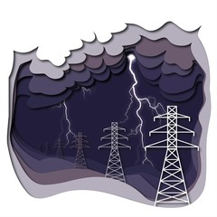 Electric power lines and lightning on dark purple cloudy background.