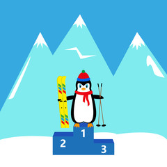 penguin skier Winner Champion