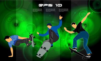 Skateboarder jump, sport background