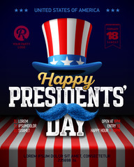 Happy Presidents' Day party poster design with collage of USA flag party hat, moustache and vintage Happy Presidents Day phrase on the flag of USA lying on the table