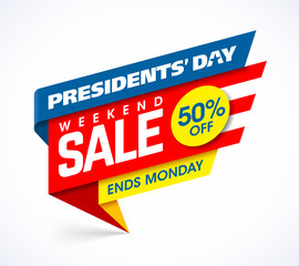 Presidents' Day Sale banner design template, big weekend sale, special offer, up to 50% off