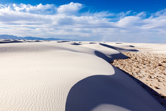 Tranquil image of white sand dunes and beautiful blue sky, White Sands National Monument