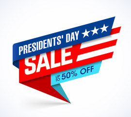 Presidents' Day Sale banner design template, big sale, special offer, up to 50% off