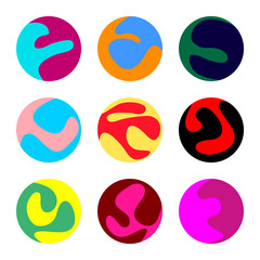Set of nine colorful balls with different patterns - Eps10 vector graphics and illustration