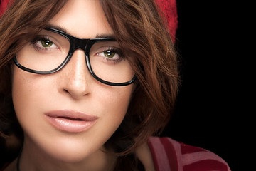 Cool Trendy Eyewear Portrait. Gorgeous Young Woman Face with Eyeglasses