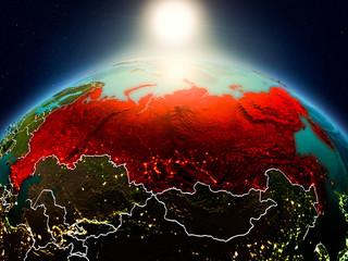 Russia in sunrise from orbit