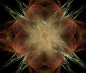 Abstract spectacular fractal composition on a beautiful background. Generated by computer.