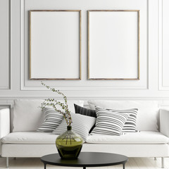 Posters mock up in Scandinavian interior with white sofa, 3d render, 3d illustration
