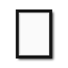 Photo frame with black borders. Wooden photo frame with blank space for motivational text, quotes, pictures and posters