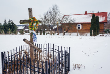 Traditional wooden cross in Soce village in Podlasie region of Poland