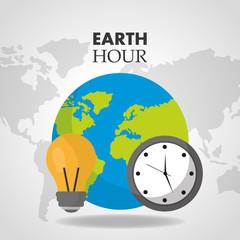 earth hour world clock bulb map background  vector illustration
