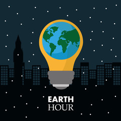 earth hour in the light bulb scene night town vector illustration