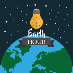 earth hour light bulb environment world map stars vector illustration