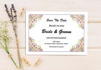 Save-the-Date Card Layout with Floral Corners 1
