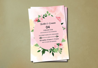 Pink Roses Wedding Invitation Layout 1