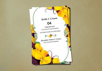 Yellow Pansies Wedding Invitation Layout 1
