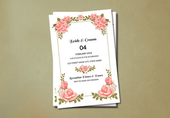 Pink Roses Wedding Invitation Layout 2