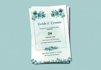 Blue Watercolor Flowers Wedding Invitation Layout 1