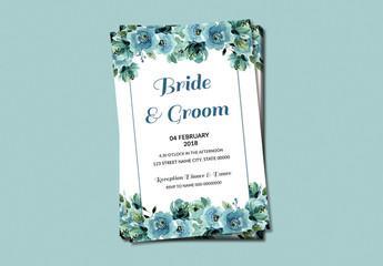 Blue Watercolor Flowers Wedding Invitation Layout 2