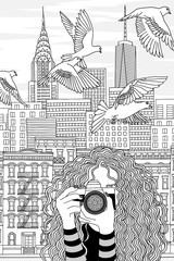 Hand drawn black and white illustration of a young woman taking photos in New York City