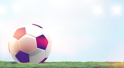 ball soccer football 3d rendering at green grass and light blue sky