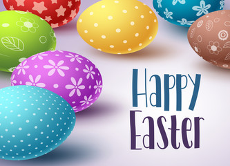 Easter eggs background design with Happy easter text and colorful eggs elements in white background. Greetings card design template with space for text. Vector illustration.