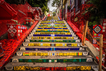 Photo sur Toile Brésil Rio de Janeiro - June 21, 2017: The Selaron Steps in the historic center of Rio de Janeiro, Brazil