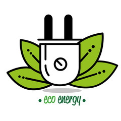 natural green eco energy with electric plug vector illustration graphic design