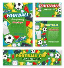 Football match sport event banner of soccer league