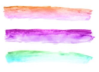 Three Mulitcolored Watercolored Banners