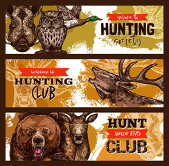 Hunting sport, hunter club banner with wild animal