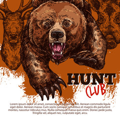 Hunting club poster with bear, deer, boar animal