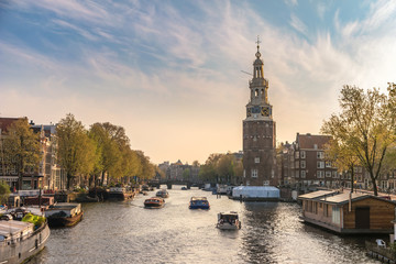 Autocollant pour porte Amsterdam Amsterdam sunset city skyline at Montelbaanstoren Tower, Amsterdam, Netherlands