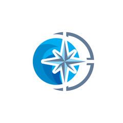 Wave Compass Logo Icon Design