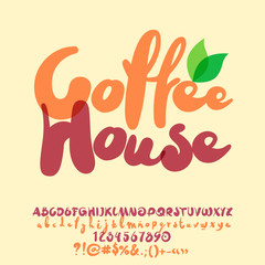 Vector handwritten Alphabet with cute Coffee House Logo. Set of bright Letters, Numbers and Punctuation Symbols