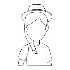 woman gardener hat avatar character vector illustration design