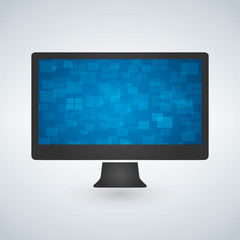 computer monitor with a blue futuristic wallpaper. isolated on white. vector.